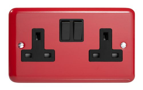 Varilight XY5B.PR Lily Primary Pillar Box Red 2 Gang Double 13A Switched Plug Socket